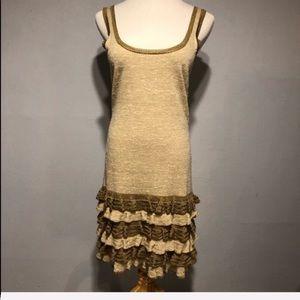 DIANE VON FURSTENBERG Gold Metallic Knit Dress-S
